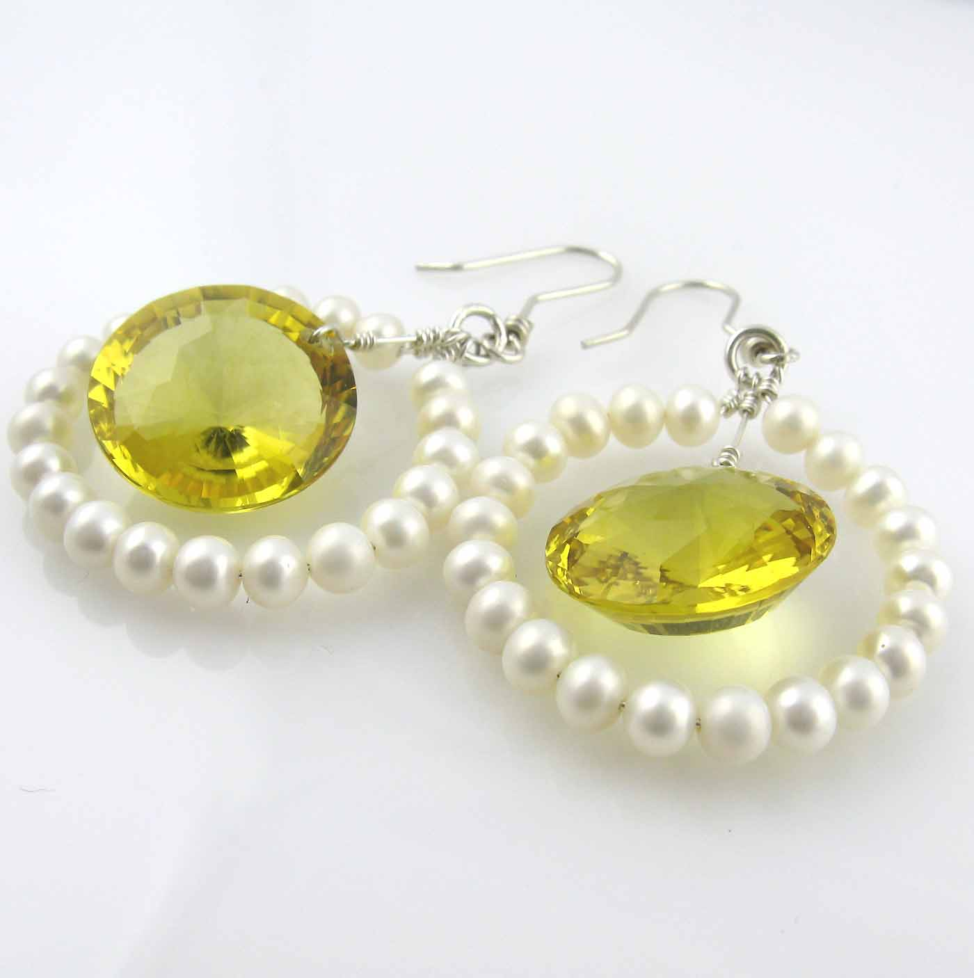 White Pearl Yellow Quartz Hoop Earrings