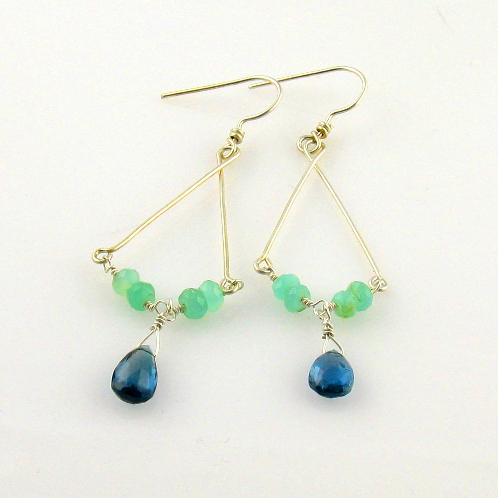 Peruvian Opal Chandelier Earrings With Blue Topaz Drops