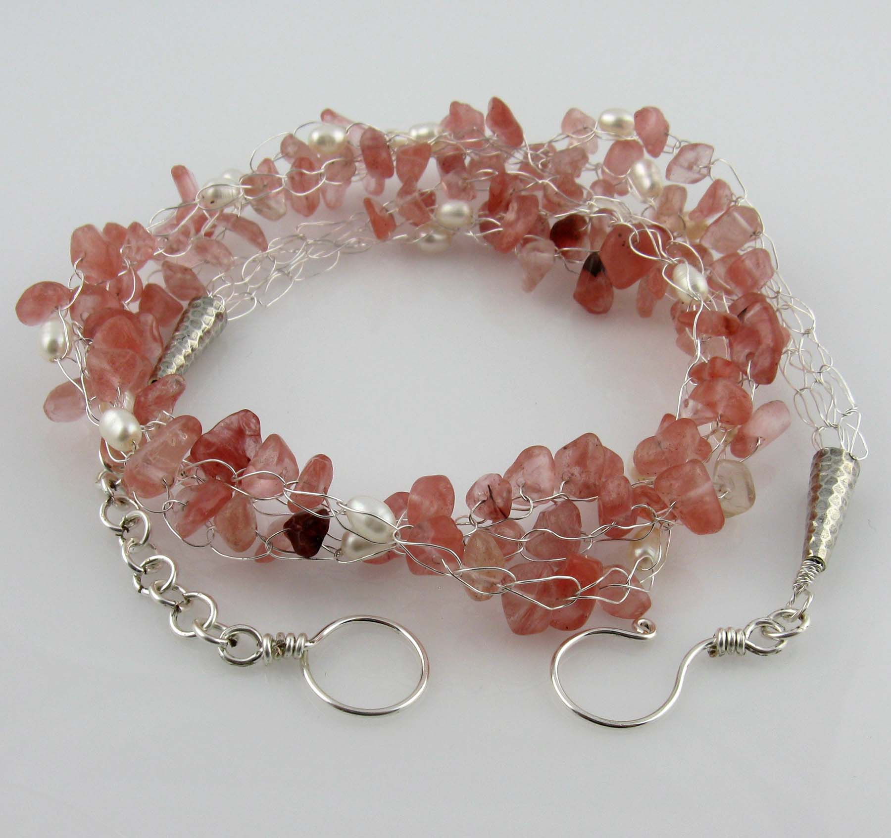 White Cloud Creations: Strawberry Quartz Pearl Silver Wire Crochet ...