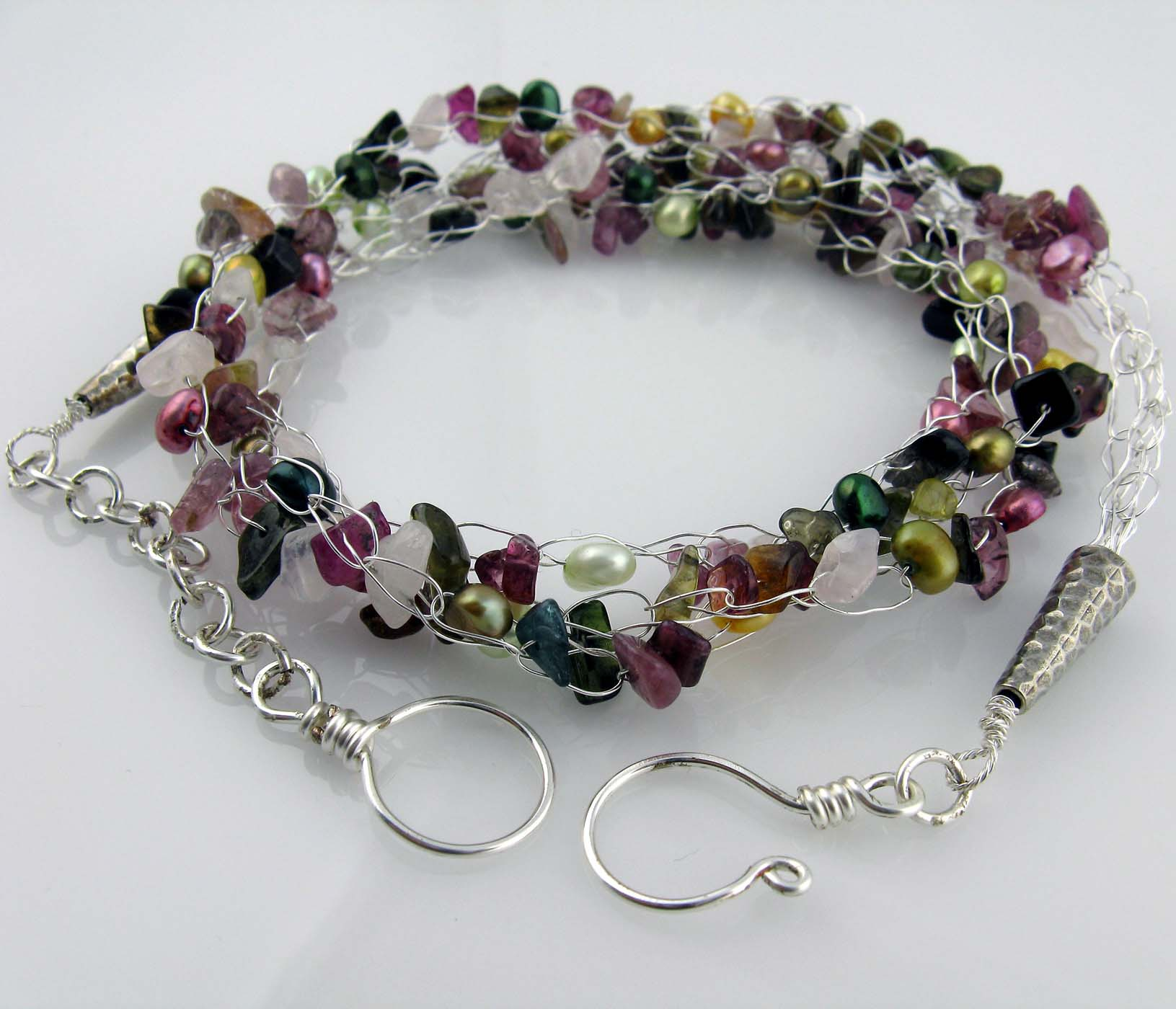 White Cloud Creations: Tourmaline Crochet Necklace With Rose Quartz ...