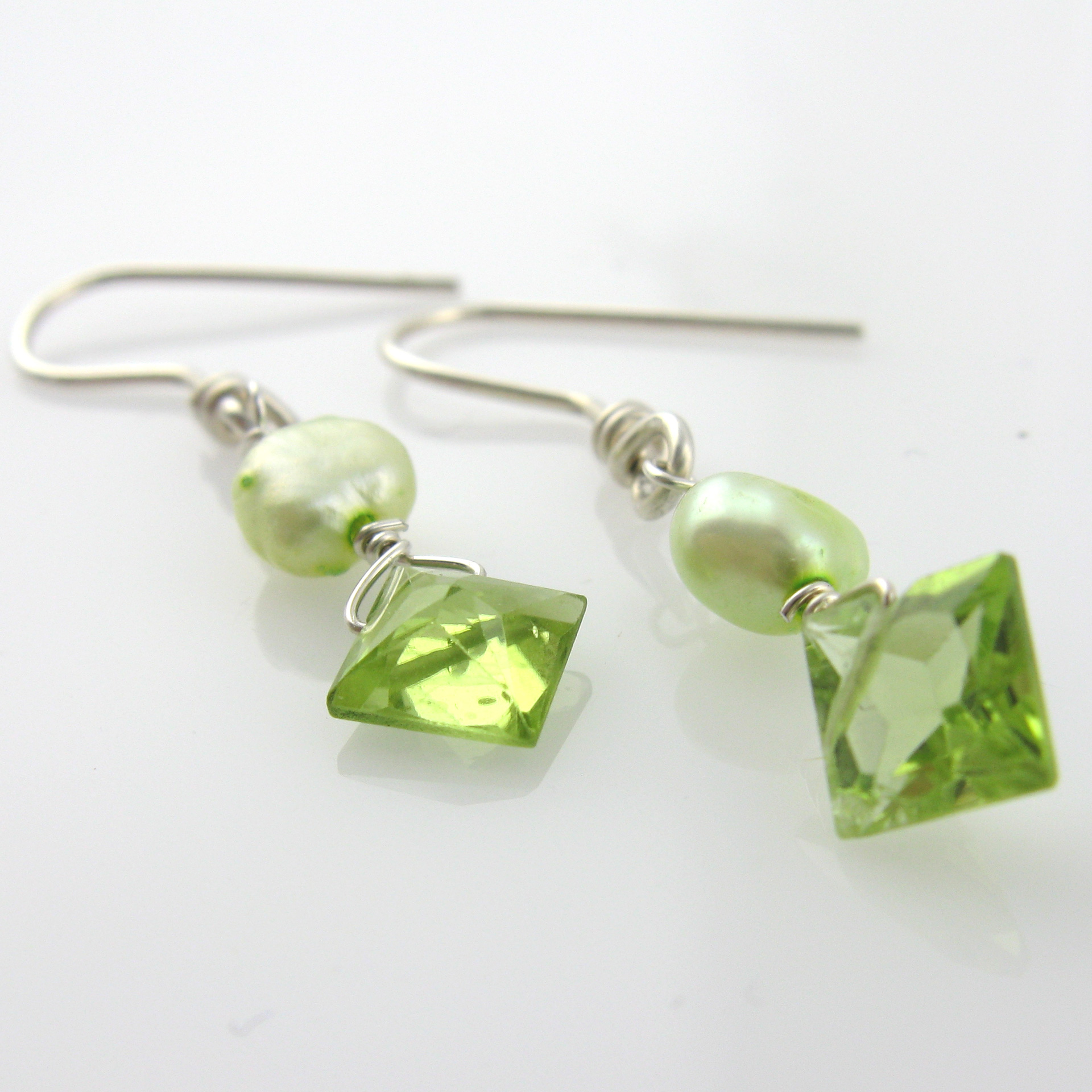 Ideal White Cloud Creations: Peridot Princess Earrings with Lime Green  JO32